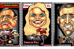 Caricatures-muotokuvakarikatyyrit-Marlon-Brando-Cameron-Diaz-Nikolas-Gace