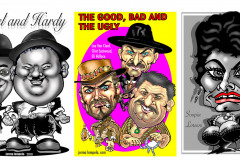 Laurel-and-Hardy-The-good-bad-and-the-ugly-Sophia-Loren-Caricature-karikatyyrimuotokuva