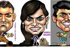 Muotokuvat-karikatyyrit-caricature-George-Clooneym-Sandra-Bullock-Tom-Cruise