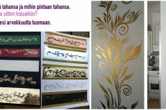 Sisustukseen-värivaihtoehtoja-sisustussunnittelua-ornamentteja-käsimaalattuina-taideteoksina-kultamaalilla-seinämaalaukset-sisustukseen