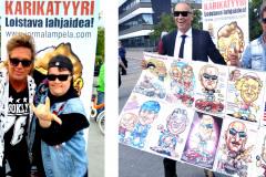 karikatyyripiirtäjä-jorma-ja-ile-vainio-ja-rumpali-toni-seinäjoen-tangomarkkinat